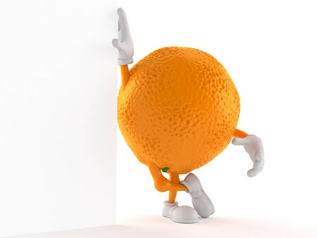 Orange character isolated on white background. 3d illustration