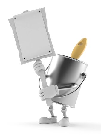 Paint can character holding protest sign isolated on white background. 3d illustration Banco de Imagens