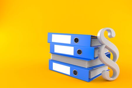 Paragraph symbol with stack of ring binders isolated on orange background. 3d illustration