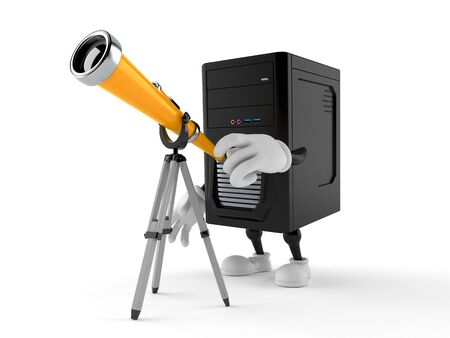 Computer character looking through a telescope. 3d illustration