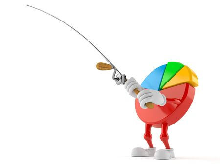 Pie chart character with fishing rod isolated on white background. 3d illustration