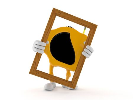 Measure tape character holding picture frame isolated on white background. 3d illustration