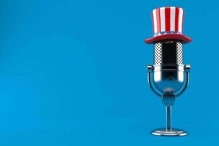 Radio microphone with usa hat isolated on blue background. 3d illustration Banco de Imagens