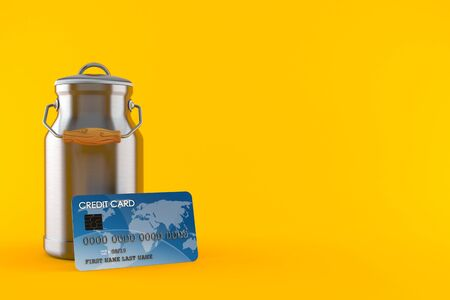 Milk can with credit card isolated on orange background. 3d illustration