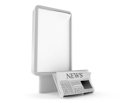 Newspaper with blank billboard isolated on white background. 3d illustration