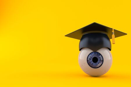 Eye ball with mortarboard isolated on orange background. 3d illustration 스톡 콘텐츠