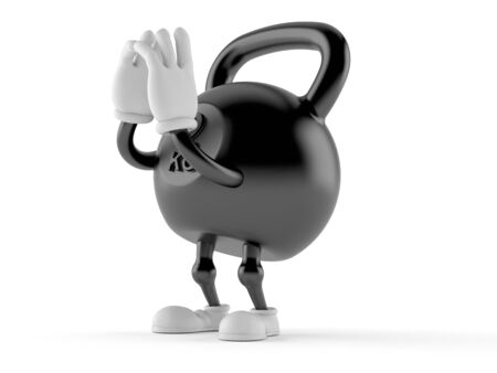 Kettlebell character shouting isolated on white background. 3d illustration