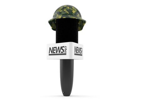 Interview microphone with military helmet isolated on white background. 3d illustration