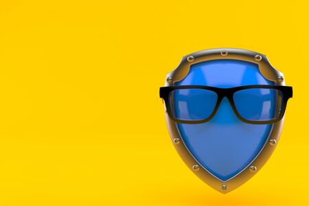 Glasses with shield isolated on orange background. 3d illustration