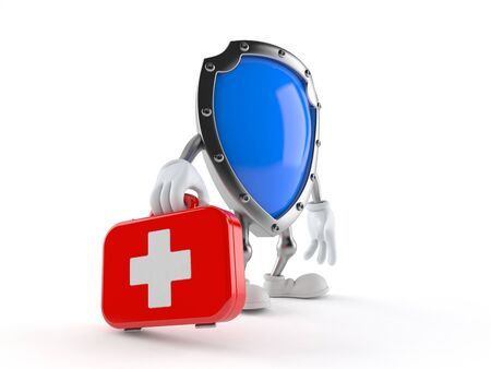 Protective shield character holding first aid kit isolated on white background. 3d illustration Imagens - 133811895