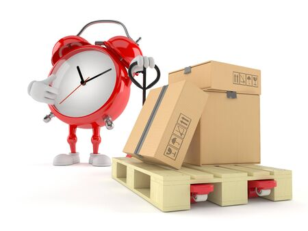 Alarm clock character with hand pallet truck with cardboard boxes isolated on white background. 3d illustration