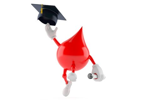 Blood character throwing mortar board isolated on white background. 3d illustration