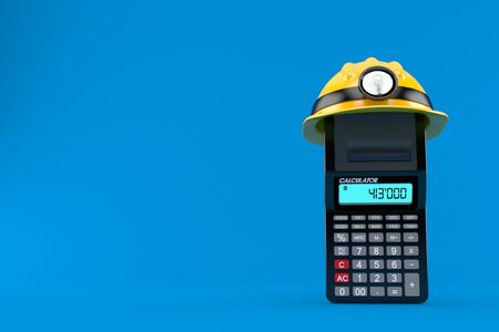 Calculator with miner hat isolated on blue background. 3d illustration Stockfoto