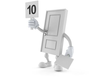 Door character with rating number isolated on white background. 3d illustration