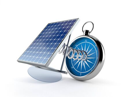 Photovoltaic panel with compass isolated on white background. 3d illustration 스톡 콘텐츠