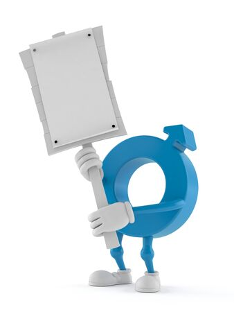 Male gender symbol character holding protest sign isolated on white background. 3d illustration Stok Fotoğraf