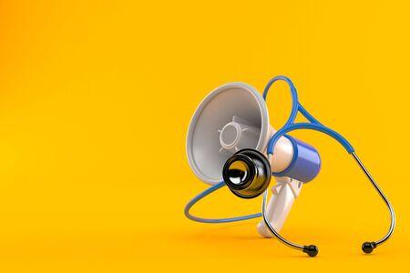 Megaphone with stethoscope isolated on orange background. 3d illustration Stock fotó
