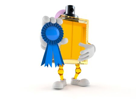 Perfume character with award ribbon isolated on white background. 3d illustration