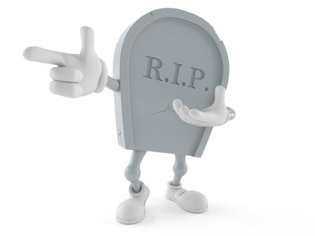 Grave character pointing finger isolated on white background. 3d illustration Reklamní fotografie