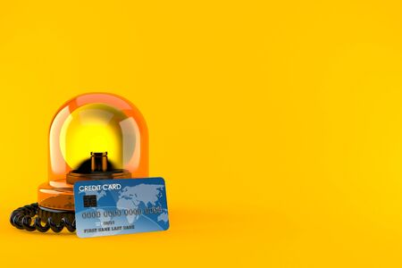 Emergency siren with credit card isolated on orange background. 3d illustration
