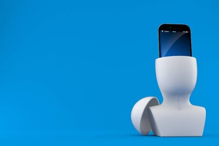 Smartphone inside head isolated on blue background. 3d illustration