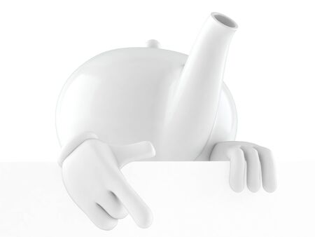 Teapot character behind white wall isolated on white background. 3d illustration Reklamní fotografie