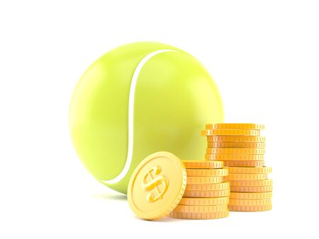 Tennis ball with stack of coins isolated on white background. 3d illustration