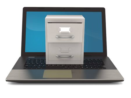 Archive with laptop isolated on white background. 3d illustration