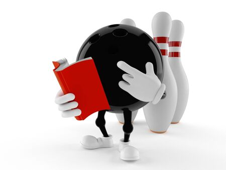 Bowling character reading a book isolated on white background. 3d illustration