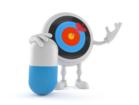 Bull's eye character with pill isolated on white background. 3d illustration