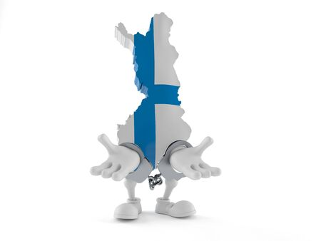 Finland character in handcuffs isolated on white background. 3d illustration Reklamní fotografie