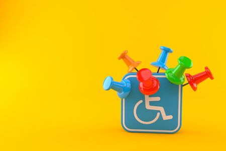Handicap symbol with thumbtacks isolated on orange background. 3d illustration