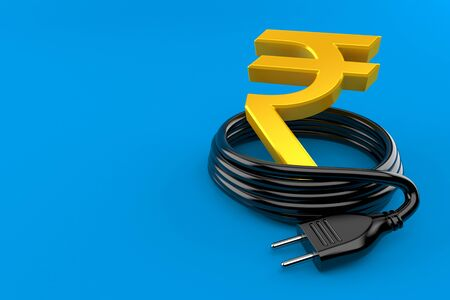 Rupee currency symbol with electric plug isolated on blue background. 3d illustration Reklamní fotografie