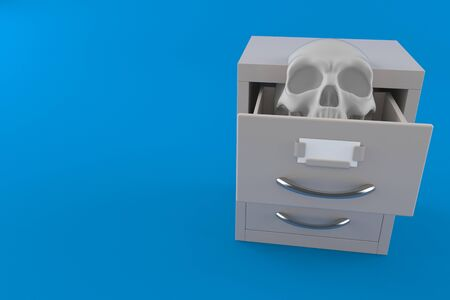 Skull inside archive isolated on blue background. 3d illustration