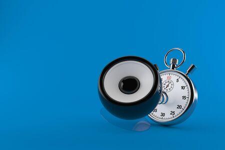 Audio speaker with stopwatch isolated on blue background. 3d illustration Reklamní fotografie