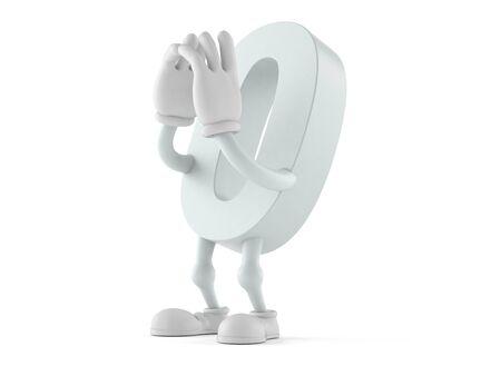Zero character shouting isolated on white background. 3d illustration Banco de Imagens