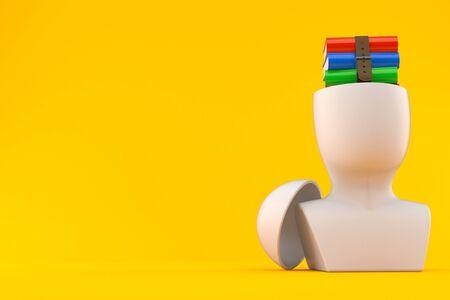Books inside head isolated on orange background. 3d illustration Zdjęcie Seryjne