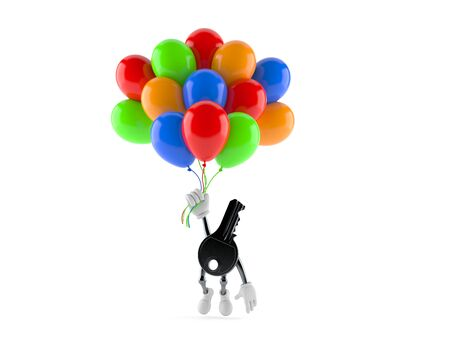Door key character flying with balloons isolated on white background. 3d illustration Stock Photo