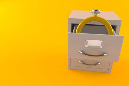 Engagement ring inside archive isolated on orange background. 3d illustration Stock fotó