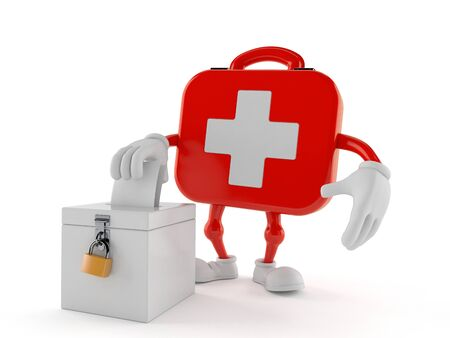 First aid kit character with vote ballot isolated on white background. 3d illustration