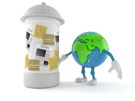 World globe character with advertising column isolated on white background. 3d illustration
