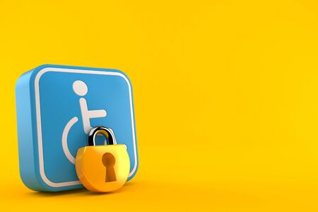 Handicap symbol with padlock isolated on orange background. 3d illustration