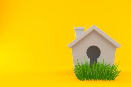 Small house on grass isolated on orange background. 3d illustration