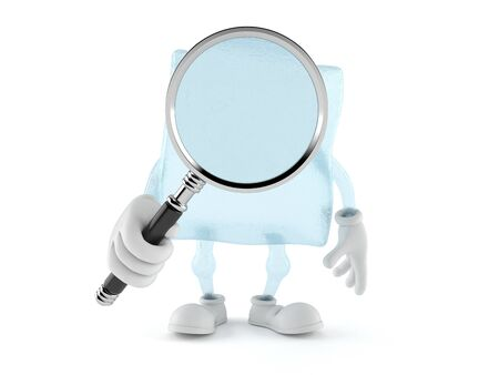 Ice cube character holding magnifying glass isolated on white background. 3d illustration