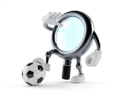 Magnifying glass character with soccer ball isolated on white background. 3d illustration