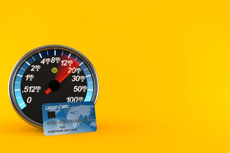 Network meter with credit card isolated on orange background. 3d illustration