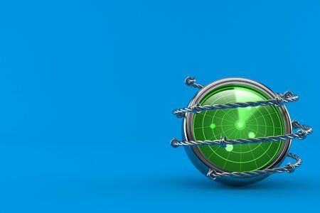 Radar with barbed wire isolated on blue background. 3d illustration 스톡 콘텐츠