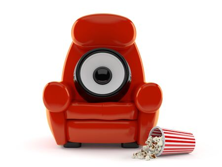 Audio speaker with theater armchair and popcorn isolated on white background. 3d illustration Reklamní fotografie