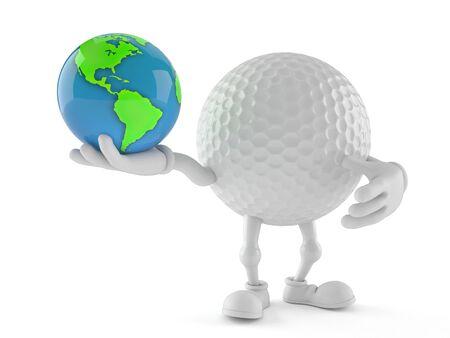 Golf ball character holding world globe isolated on white background. 3d illustration