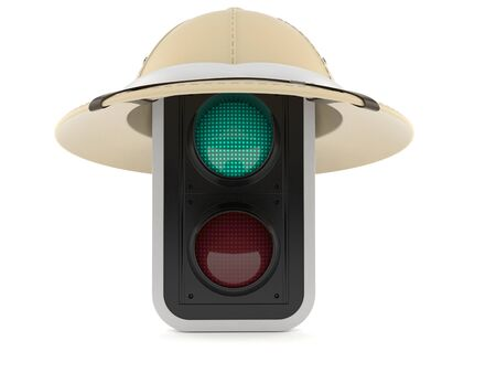 Green traffic light with safari hat isolated on white background. 3d illustration